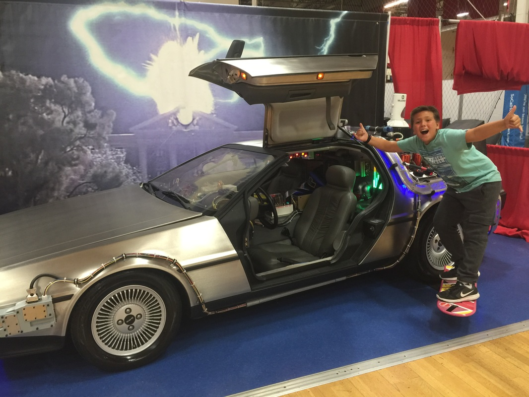 Doc Brown's DeLorean Time Machine and new Hoverboard