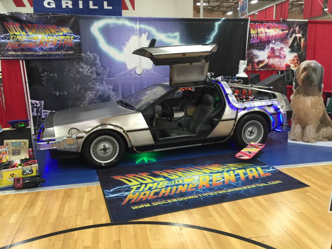 Doc Brown's DeLorean Time Machine Convention Set-up